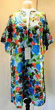 Deadstock New Vintage Janet Lynn Featherlite Hand Screened Floral Print Robe Med