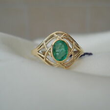 Beautiful Lattice Design Colombian Emerald Gold Ring