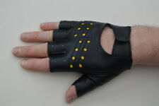 Millington Fingerless Faux Leather Cycling / Work Gloves Black Size S (X Small).