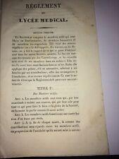 RÉGLEMENT DU LYCÉE MÉDICAL vers 1830