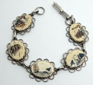 Vintage Silver Tone Scrimshaw Bracelet with Tall Ships & Whales Sailing Whaling
