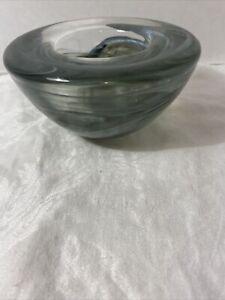 Kosta Boda Sweden Swirl Gray Tealight Votive Candle Holder