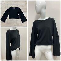 NWT $100 STILLWATER Women's Black Bell Sleeve Pullover Crew Neck Sweater Size M