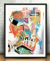 CORBELLIC ART OIL Painting EXPRESSIONISM BASQUIAT BROKEN THINKER LARGE PAPER COA