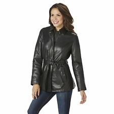 Women's Excelled Leather Wrap Jacket Black XL #NJ1F1-456