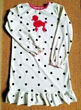 Euc Girls Carters Fleece Pajamas Nightgown Ivory/Black Pink Poodle Appliqué Sz L