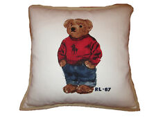 Polo Ralph Lauren Polo Bear Red Navy Blue Big Pony Sweater Home Throw Pillow