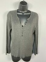 WOMENS MARKS & SPENCER UK 16 SILVER GREY RIBBED KNITTED LONG SLEEVE JUMPER TOP