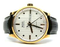 AUTHENTIC MIDO MULTIFORT GENT WATCH AUTOMATIC LEATHER STRAP ROSE CASE CALIBER 80