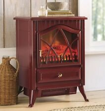 Small Electric Fireplace Space Heater Portable Faux Wood Stove Ventless Indoor