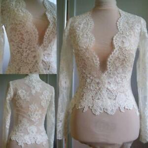 Bridal shawl ivory lace wedding jacket Bolero white bridal long sleeve shawl