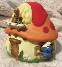 Vintage Smurf Ceramic Piggy Bank Wallace Berrie Peyo 1982 Mushroom House Cottage