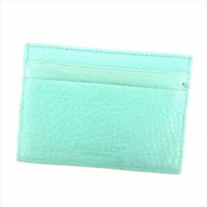 Tiffany & Co Card Case leather Blue Woman Authentic Used L2432