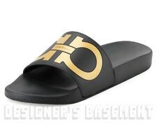 f9dff3792d2f Salvatore Ferragamo Mens 6m Black   Gold Groove Slides Flip-flops Shoes Auth
