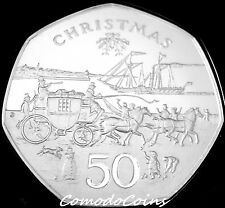1980 Isle Of Man 50p Pence Silver Proof Coin Christmas Chariot Scarce Mark E