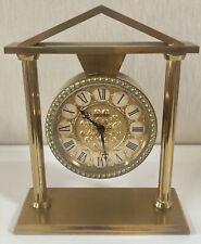 IMHOF VINTAGE Brass Mantel Clock Art Deco Swiss 8 Day Working Mechanical Heavy