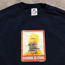SESAME STREET VTG Y2K T Shirt Big Bird SKATE School Is Cool Skateboarding XL