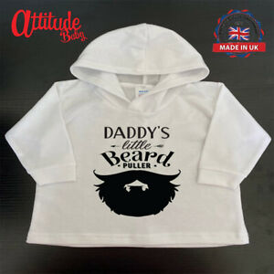Plain Baby Hoody-Daddy,s Little Beard Puller -White Printed Baby Clothes-Baby