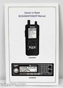 Uniden BCD436HP BCD536HP Scanner Home Patrol Easier To Read Manual
