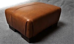 Footstool / Small Stool / Vintage real tan leather/ Brown   (CODE TAN 8)