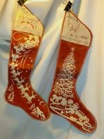 2 Mid Century Wool Felt Christmas Stenciled Stocking 1950's Embroidered Vintage
