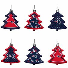 New England Patriots Shatterproof TREES Holiday Christmas Ornaments Set 6 pack
