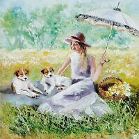 YARY DLUHOS ORIGINAL OIL PAINTING Spring Meadow Flowers Girl Jack Russell Dogs