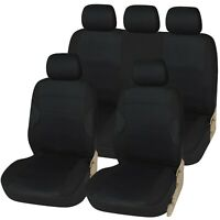 Racing Black with Black Panels Deluxe Luxury Full Car Set Seat Cover Protectors