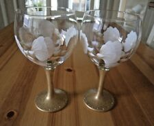 Set of Two Hand Painted  Gold and White Sweet Pea Glitter Gin/Cocktail Glass
