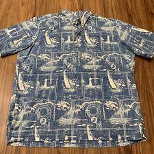 Vtg Reyn Spooner Mens Xxl Boating Hawaiian Half Button Down Shirt Blue