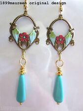 Art Nouveau Art Deco earrings turquoise aqua 1920s Edwardian vintage style drop