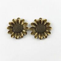 10pcs Vintage Bronze Alloy Single Side Sunflower Charms For Jewelry Pendant DIY