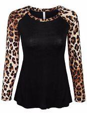 Women's Leopard Print Raglan Long Sleeve Casual Tops T Shirt Made in USA S,M,L