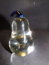 Hand Blown Cobalt Blue Stem And Clear Glass Paper Weight Pear Figurine