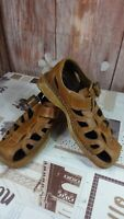 men's tan leather bye bye sandals with buckle detail size 42EU/8UK DI