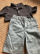 Gap Kids Boys Short Sleeve Charcoal Gray Polo & Khaki Shorts Outfit, Size 6 7