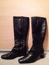 DUO Toledo Black Leather Knee High Boots - Size 7, Width 35