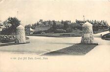 Lowell Massachusetts~Two Short Stone Pillars @ Fort Hill Park Entrance~c1906 UDB