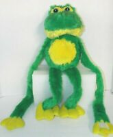 """Frog Plush 24"""" Tall By Bones Pictures & Toys Green & Yellow Embroidered Eyes"""