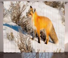 Woodland Fox Curtains 2 Panel Set Decor 5 Sizes Available Window Drapes