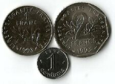 1 centime,1 Franc et 2 Francs 1993 NEUVES.