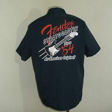 Mens DICKIES Navy FENDER 1954 STRATOCASTER Guitar Mechanic work uniform Shirt XL