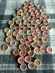 50 small mixed wooden bulk sewing craft knitting buttons 15mm 4 hole