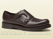 GUCCI mens 10.5* brown HARRISON double MONK loafers PLATFORM shoes NIB Auth $890