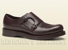 GUCCI mens 9.5* brown HARRISON double MONK loafers PLATFORM shoes NIB Auth $890
