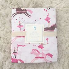 Pottery barn Kids Lucy Horse twin Sheet Set pink brown