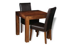 DAKOTA DARK MANGO 80CM DINING TABLE AND 2 LEATHER CHAIRS (3 STYLES) (57N)
