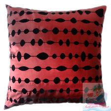 PAIR(2PCS)burgundy w/ black circles oval dot Raised Flocked Satin Cushion Cover