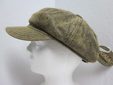 New Medium Scala Antiqued Leather Newsboy / Cabbie Cap - English - 8 panel - Ivy