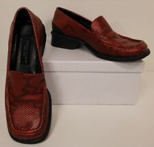 Kenneth Cole Reaction Red + Black Leather Snake Print Loafers Shoes 6M (S00070)